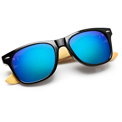 Gafas de sol de bambú, gafas de sol de madera hechas a mano, vidrios de madera de las mujeres de los hombres (azul, 1501)