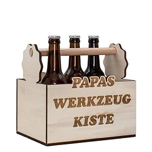 HC-Lasergravur Flaschenträger Holz Bier 6er Träger ✔ Bierträger aus Holz mit Gravur Papas Werkzeugkiste ✔ Papas Männerhandtasche ✔ 6er Flaschenträger ✔ Träger für Bierflaschen ✔ lustige Biergeschenke