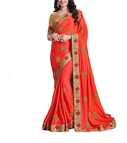 Latest Party Wear women's Super Silk Orange Color Saree (Orange)