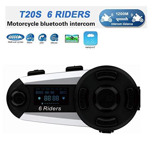 OKEU Intercomunicador Casco Moto, Moto Bluetooth Radio Comunicador para Casco, Intercom Casco Moto para 6 Motoristas, Motocicleta Interphone con Cancelación de Ruido (1 Pieza)