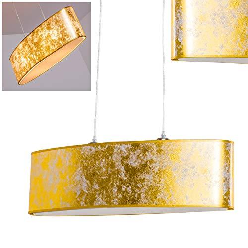 Hängelampe Venosa 2-flammig in Goldfarben – Pendellampe mit ovalem, länglichen Lampenschirm - Moderne Pendelleuchte 2 x E27-Fassung – ideale Wohnzimmer Lampe – Schlafzimmer Leuchte, Esszimmer Licht