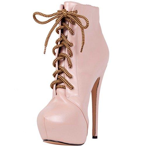 Calaier Femme Caclub 2016 Designer Luxe Plateforme Élégante Round Toe Super High Heel 15CM Aiguille Lacer Bottes Rose