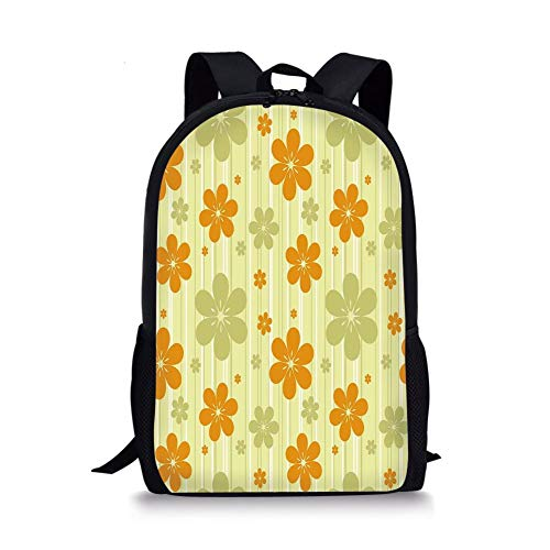 School Bags Floral,Big Little Flourishing Graphic Flowers Striped Background Retro Natural Art,Pale Green Orange for Boys&Girls Mens Sport Daypack (Rolling Rucksack Floral)