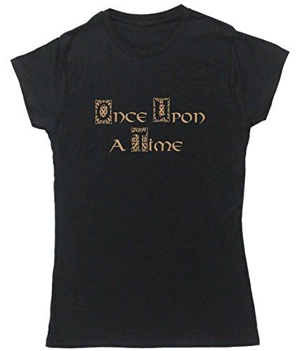 Hippowarehouse Upon A Time Damen Fitted Short Sleeve T-Shirt (bestimmte Größenangaben in der Beschreibung) Gr. Small, Schwarz (Sleeve Fitted Short Shirt)