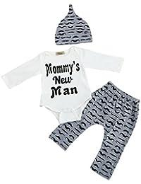 SHOBDW Boys Clothing Sets, 3PCS Newborn Baby Boy Cute Set Romper Tops+Long Pants Hat Outfits Clothes