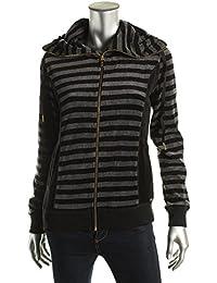 Calvin Klein Women's Velveteen Striped Funnel Neck Jacket Black