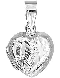 Plata de ley con acabado de rodio de corazón con grabado de 15 x 15 mm - Colgante