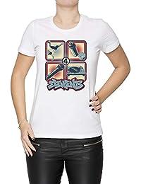 4 Elements of Hip Hop - Hip Hop Mujer Camiseta Cuello Redondo Blanco Manga  Corta Todos Los Tamaños Women s… f5508d83b1f