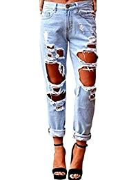 Aitos Femme Jeans Pantalon Causal Trou Délavé Déchiré Push Up Maigre Mode Boyfriend Skinny Sexy Slim Printemps Ete Nouvelle Punk Rock,Inclure Resille