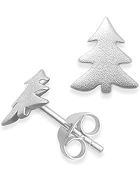 HEATHER Needham Ohrstecker Sterlingsilber Weihnachtsbaum–Frost Finish (Sand gebürstet Finish)–Größe: Small...