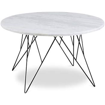 Homy Couchtisch Rund 80cm Stein Metall Tischplatte Marmor Weiß
