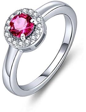 YL Jewelry Damen Ring 925 Sterlingsilber 5mm Rund erstellt Rubin Promise Ring Schmuck