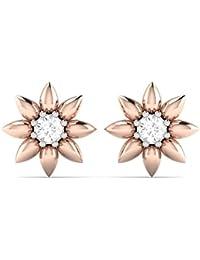 Vijisan Designer Collection 0.18 Ct.Designer Flower Star Stud Earrings In 925 Sterling Silver For Girl [GUER0692]