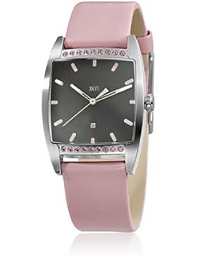 XEN Damen Armbanduhr mit 18 Swarovski Steinen in rosa und Lederarmband XQ0233