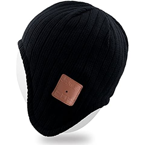 Mydeal adulti Unisex Trendy caldo molle dell'orecchio Beanie Hat Bluetooth