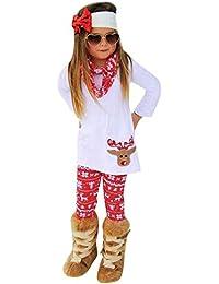 Ansenesna Kinder Weihnachten Kostüm Mädchen Baumwolle Soft Elegant Tops + Hose + Stirnband Weihnachts Kleidung Outfits