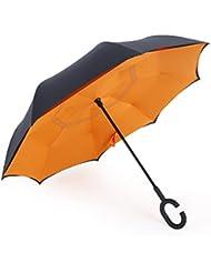 Dolirox Kreativer Regenschirm, Hände frei, doppellagig, seitenverkehrt, Inside Out, windfest, ideal für Reisen und fürs Auto