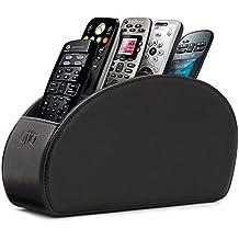 Soporte para mandos a distancia Otto con 5 espacios - Organiza mandos de DVD, Blu-Ray, TV, Roku o Apple TV - Cuero sintético de revestido en gamuza - Delgado y compacto, ideal para sala y dormitorio