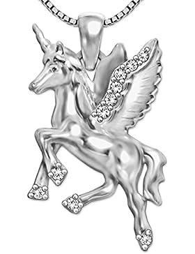 CLEVER SCHMUCK-SET Silberner Anhänger Einhorn mit Flügeln 23 mm beidseitig figürlich glänzend mit vielen Zirkonias...
