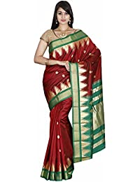 Indian Silks Temple Design Women's Kanchipuram Handloom Pure Silk Saree, With Unstitched Blouse Piece(Maharaja...
