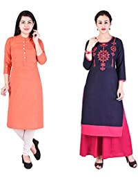 Navya Creatoion Womens Cotton Solid Straight Kurti (Pack Of 2)