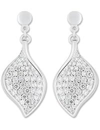 Boucles d'Oreilles Pendantes Femme - 10106978 - Argent 925/1000 5.39 gr - Oxyde de zirconium - Blanc
