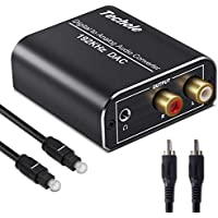 DAC Konverter, Techole Aluminium 192 kHz Digital-/Toslink zu Analog RCA L/R Audio Konverter Adapter mit optischem Kabel, Koaxialkabel, USB-Kabel für PS3 PS4 Xbox HDTV Blu-ray Sky HD Apple TV