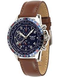 Aviator AVW78420G388 - Reloj cronógrafo para Hombre (Correa de Piel), Color marrón