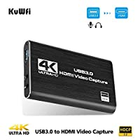 KuWFi 4K/30Hz HDMI to USB3.0 HDMI Capture Input HD 1080P Output HDMI Game Video Capture Card Rcording Box for Live Broadcasts Video Recording