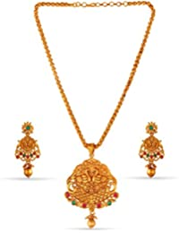Variation Ethnic Swan Design Traditional Jewellery Pendant Set With Dangle Earring-VD18148