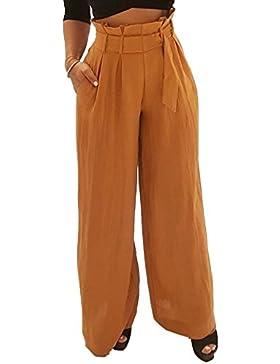 Verano Beachwear Mujer Colores Lisos Pantalones de Playa Largos Pantalón con Vendajes Anchos Pantalones Casual...
