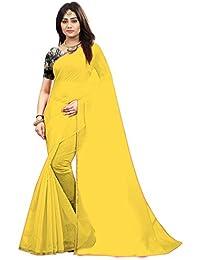 Radiance Star Women's Chanderi Cotton Yellow Color Plain Saree With Benglori Silk Blouse Piece