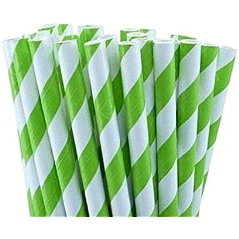 Ruichy 25pcs colorido rayas pajitas de papel para boda fiesta de cumpleaños Decoración verde