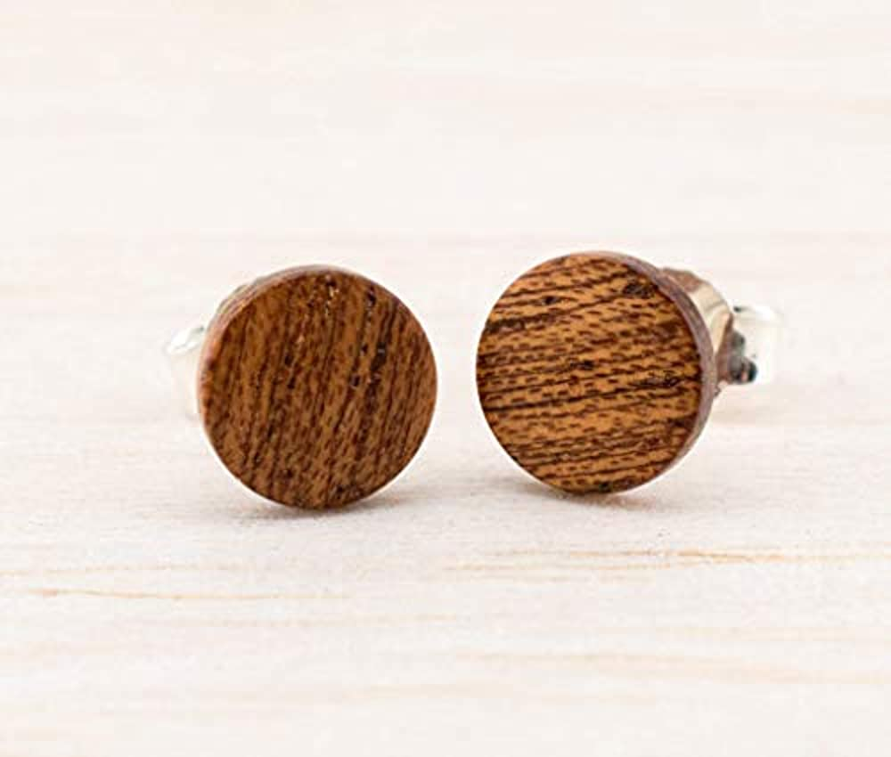 Dunkelbraune Holz Ohrstecker Ø8mm Kleine Holz Ohrringe hölzerne Mini Ohrringe kleine runde Holz ohrstecker individualisierbar wood earrings wooden studs Damen Männer Ohrstecker Holzschmuck Unisex