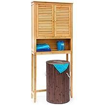 Relaxdays Lamell bambú Lavadora Armario, Suelo Unidad de Almacenamiento, Armario de baño con Puertas