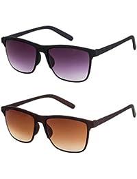 bbb99457661 Gansta UV Protected Combo of Jet Black   Brown Wayfarer sunglasses for Men    Women (