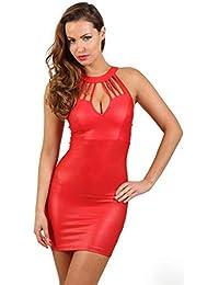 5c2ea43fc4cd Miss Noir Wetlook Damen Kleid Clubwear Mini Dress Partykleid Stretch  Lederlook