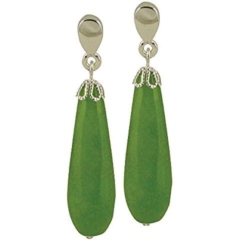 fresco luminoso oliva giada pietra tono argento goccia clip su orecchini con confezione regalo