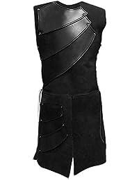 Smileshop Herren Mittelalter Kostüm Ärmellos Rundhals-Ausschnitt Mittelalter Waffenrock Tunika mit Bandage Design