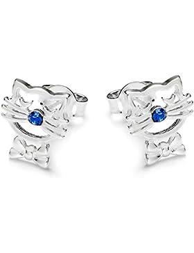 butterfly Mädchen Ohrstecker echt Silber blau Swarovski Elements original Katze Geschenkverpackung, Kindergeschenke...