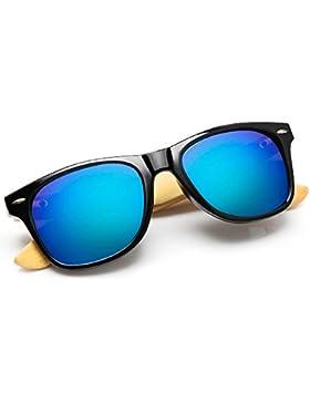Walnut Wood Wayfarer gafas de sol para hombres y mujeres con lentes polarizadas (oro, 1519)