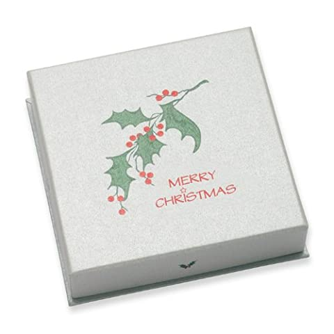 PACK OF 2 Christmas Gift Box - Holly, Merry Christmas & Star design - SIZE: 85mm x 85mm x 22mm deep - For Large earrings, brooch, pendant or thin bangles -