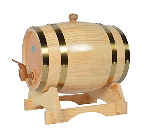 Mkuha Horizontal Holz Weinfass Spender Kiefer,Aluminiumfolie Liner(Log-Farbe), 50L -