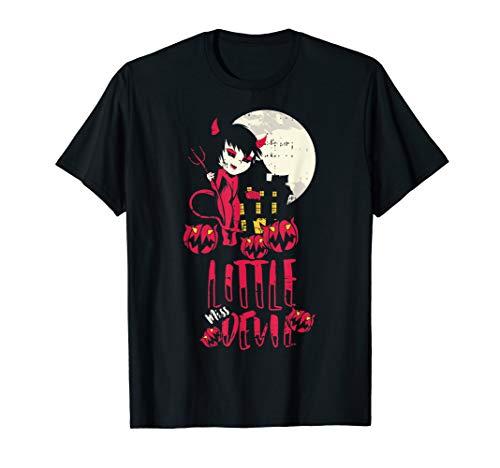 Little Devil Teufel Kostüm Einfache Halloween Outfit T-Shirt (Einfach Schwarzer Teufel Kostüm)