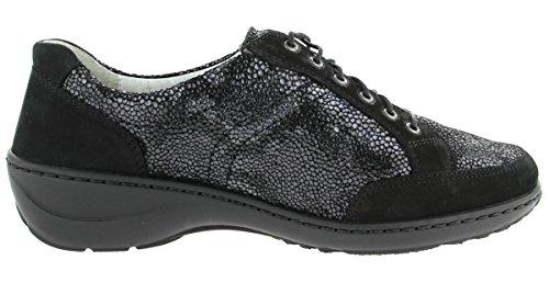 Waldläufer  607014 306 954, Chaussures de ville à lacets pour femme Noir