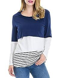 BESBOMIG Mujer Camiseta de Maternidad Back Lace Striped Amamantar T-Shirt - Manga Larga Doble Capa Design Maternity Lactancia Tops