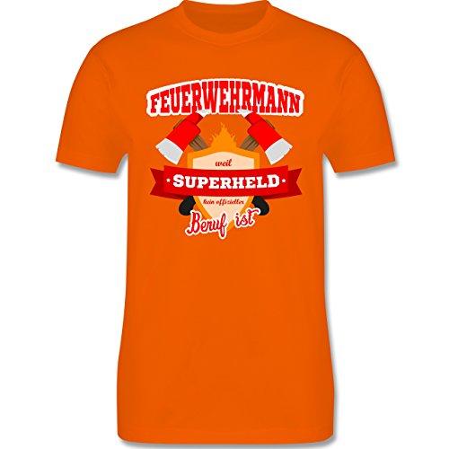 Feuerwehr - Feuerwehrmann - weil Superheld kein offizieller Beruf ist - Herren Premium T-Shirt Orange