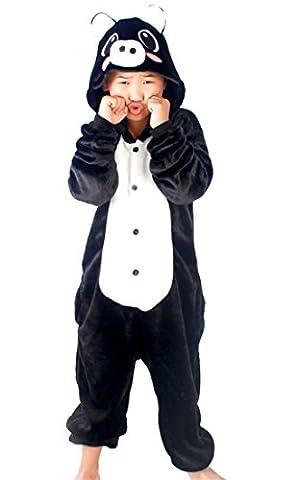 Happy Cherry Kind Schlafanzug Warmer Flanell Einteiler Pyjamas Unisex Cosplay Kostüme Tierkostüm Schwein Dicke Nachtwäsche Kostüm Für Halloween Animal Sleepwear Geeignet Für 10 Bis 11 Jahre - Schwarz