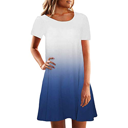 Women Short Sleeve Crew Neck Casual Loose Fitting Gradient Dresses -