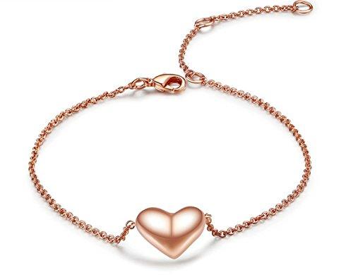 OHA-FASHION Herz Armband 18K Rot Gold beschichtet - Armkette für Ihre Liebsten, top Verarbeitung, edel verarbeitet - lässt das Herz Ihrer Liebsten vor Freude erstrahlen (Tiffany Armband Box)